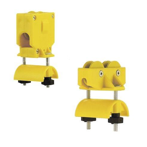 Carros fijos y carros móviles para sistema de alimentación eléctrica por cable plano